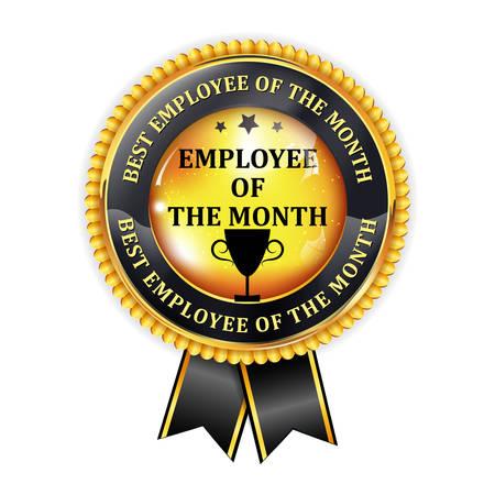 Employé du mois - élégant ruban doré d'attribution noir Banque d'images - 54304459