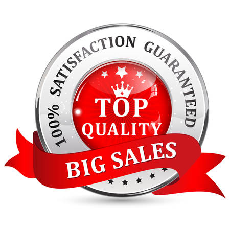 shiny icon: Big Sales. Satisfaction guaranteed. Top Quality. Metallic red glossy shiny icon  button with ribbon. Illustration