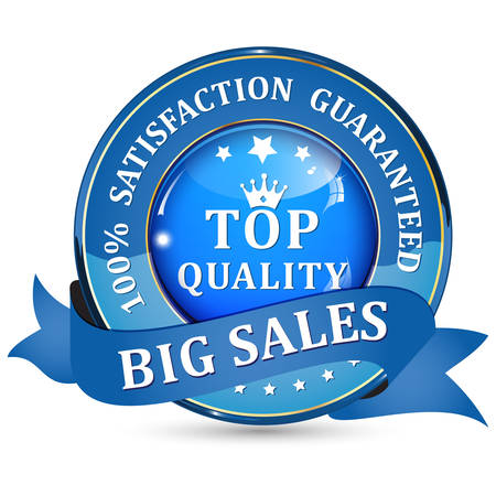 satisfaction guaranteed: Big Sales. Top quality. 100% Satisfaction guaranteed - blue shiny glossy icon  button with ribbon. Illustration