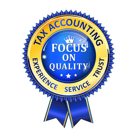 consultancy: Tax accounting - Focus on Quality - Audit golden blue ribbon for business consultancy companies.