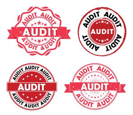 Audit set van grunge etiketten / linten voor business consultancy bedrijven. Print kleuren gebruikt