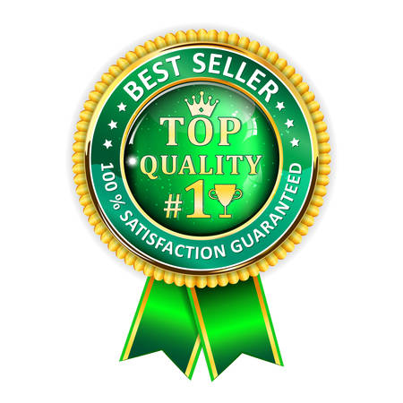 satisfaction guaranteed: Best Seller. 100 % Satisfaction Guaranteed. Top Quality - golden green ribbon. Award for excellence. Illustration