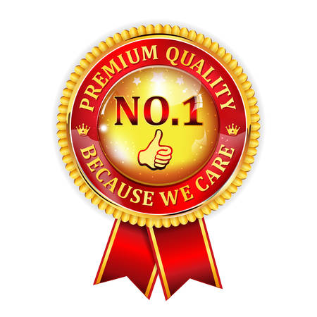 no1: No.1 Premium Quality, because we care - golden red shiny ribbon. Quality certified for business community