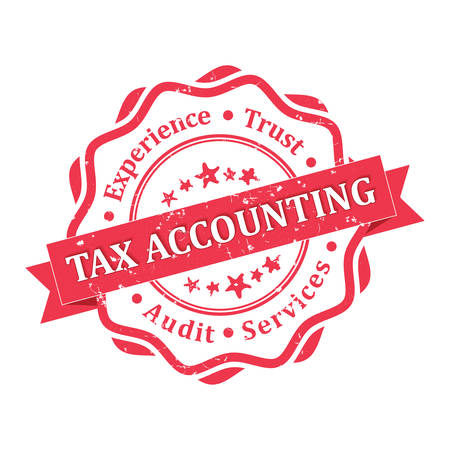 Tax accounting. Audit services. red grunge label. Print colors used Ilustracja