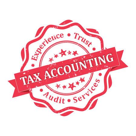 Tax accounting. Auditdiensten. rode grunge label. Print kleuren gebruikt