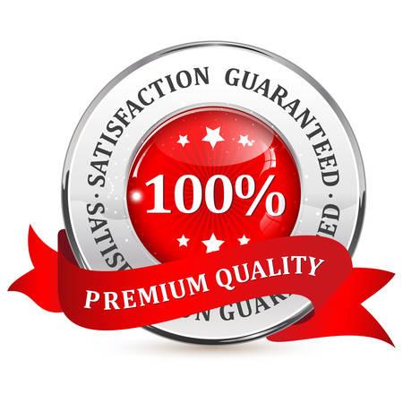 satisfaction guaranteed: Premium quality. 100% satisfaction guaranteed - metallic red label with ribbon Illustration