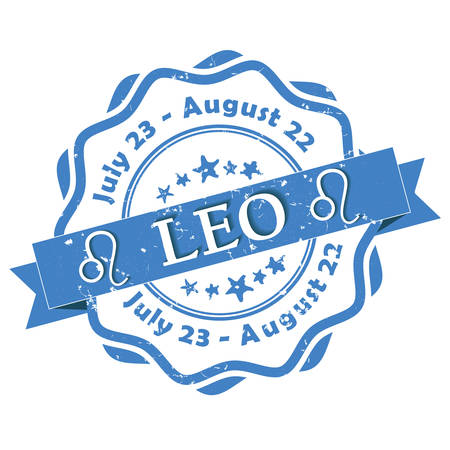 predict: Leo - zodiac sign grunge blue ribbon, also for print. Contains also the Dates of Birth.
