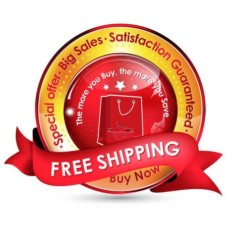 satisfaction guaranteed: Free shipping. Big Sales. Special offer. Satisfaction guaranteed golden red ribbon for sales business