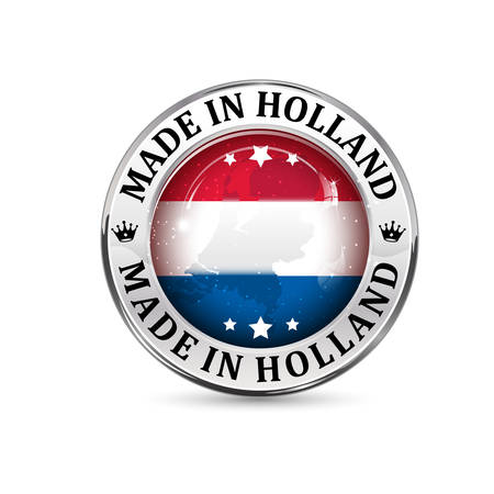made in netherlands: Made in Holland - icon with Germanys flag in the background Illustration