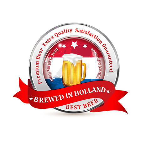 stamper: Brewed in Holland, Satisfaction Guaranteed. Tradition and Quality. Premium Beer icon  sticker advertising for pubs, clubs, restaurants and breweries. Contains beer mug and the flag of Belgium. Illustration
