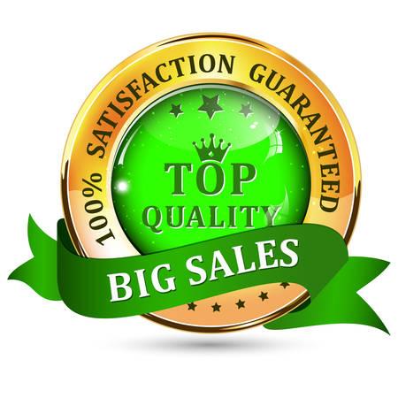satisfaction guaranteed: Big Sales. Satisfaction guaranteed. Top Quality. Metallic green glossy shiny icon  button with ribbon.