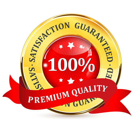 satisfaction guaranteed: Premium quality. 100% satisfaction guaranteed - golden red label with ribbon