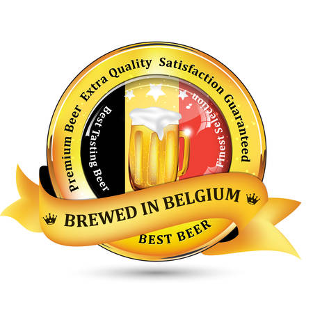 satisfaction guaranteed: Brewed in Belgium - Premium Beer Extra quality, Satisfaction Guaranteed ribbon  sticker advertising for pubs, clubs, restaurants and breweries. Contains beer mug and the flag of Belgium. Illustration