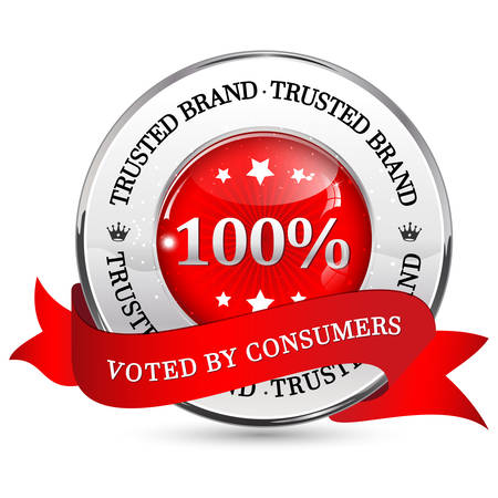 voted: Trusted Brand. Voted by consumers - elegant ribbon