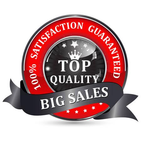 satisfaction guaranteed: Top Quality. Big Sales. 100% Satisfaction guaranteed icon  button with ribbon. Illustration