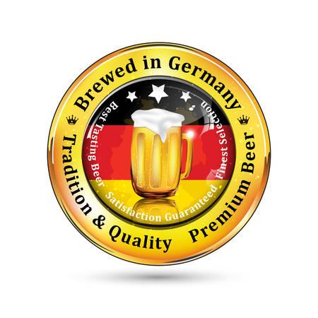 bandera alemania: Elaborada en Alemania - cerveza premium, la tradici�n y la publicidad de calidad para pubs, discotecas, restaurantes y cervecer�as. Contiene jarra de cerveza y la bandera de Alemania en el fondo Vectores