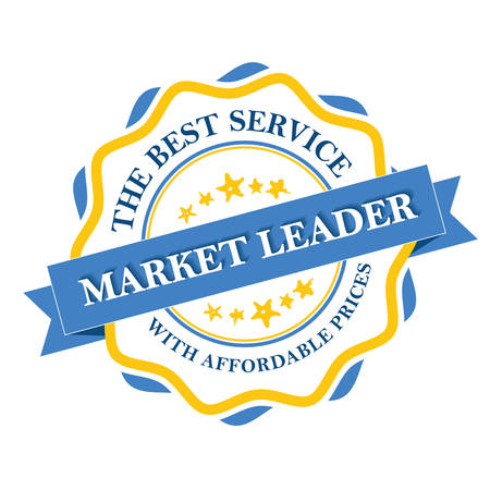 affordable: Market leader - the best service with affordable prices label. Print colors used Illustration