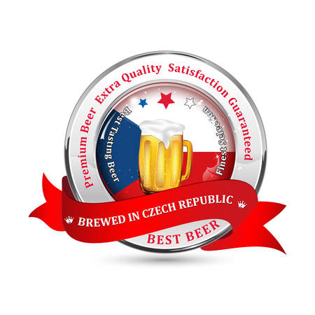 czech republic flag: Brewed in Czech Republic - Premium Beer, Satisfaction Guaranteed ribbon advertising for pubs, clubs, restaurants and breweries. Contains beer mug and the Czech Republic flag on the background