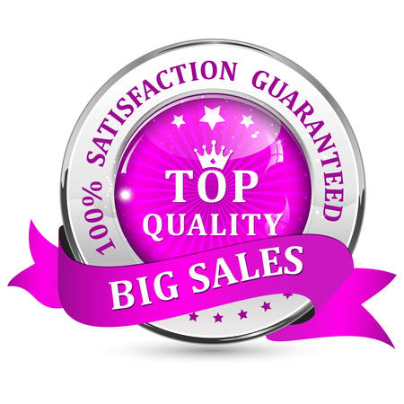shiny icon: Big Sales. Satisfaction guaranteed. Top Quality. Metallic purple glossy shiny icon  button with ribbon. Illustration