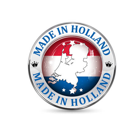 Made in Holland - icon, button, label and sign with Holland' s flag in the background