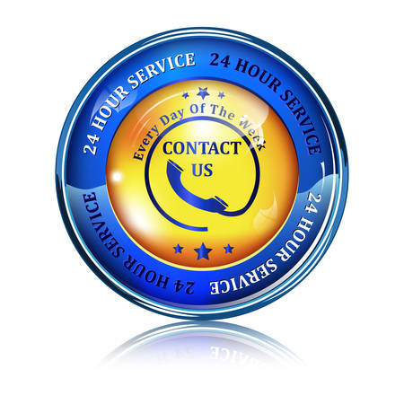 Full Time Support Service. 247 hour service. Contact us - golden blue shiny button, label and sign.