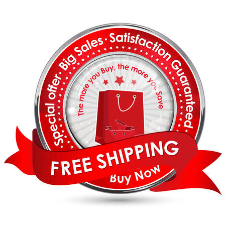 big sales: Free shipping. Big Sales. Special offer. Satisfaction guaranteed elegant ribbon for sales business Illustration