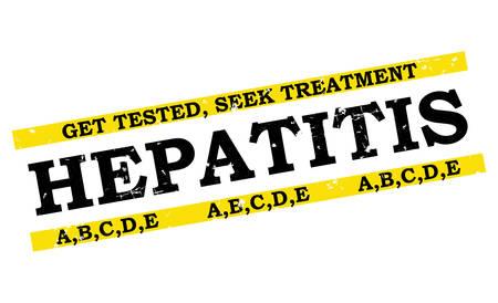 hepatitis b: Hepatitis A,B,C,D,E grunge bi-color label. Get tested, Seek Treatment. Print colors used. Illustration