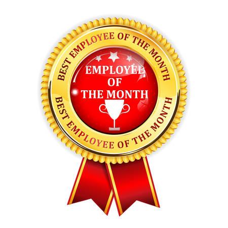 Employé du mois - élégant ruban de récompense rouge d'or Vecteurs