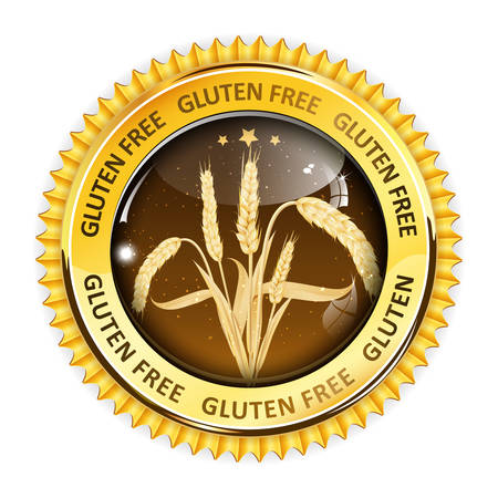 inspected: Gluten Free golden brown button, icon, label. Contains realistic wheat. Illustration