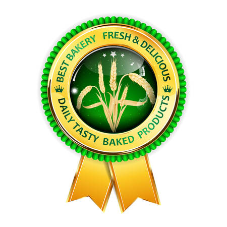 wholemeal: Best Bakery.  Fresh and delicious. Quality tasty baked products. Premium Quality award ribbon with realistic wheat. Illustration
