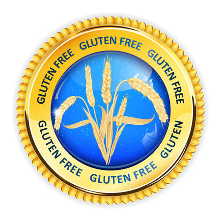 inspected: Gluten Free golden blue button, icon, label. Contains realistic wheat.