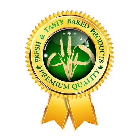 ecologically: Fresh and tasty baked products. Premium Quality award ribbon with realistic wheat.