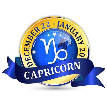 capricornus: Capricorn zodiac sign blue shiny ribbon  icon  button. Contains also the Dates of Birth.