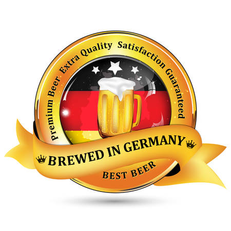 satisfaction guaranteed: Brewed in Germany - Premium Beer Extra quality, Satisfaction Guaranteed ribbon  sticker advertising for pubs, clubs, restaurants and breweries. Contains beer mug and the flag of Germany.