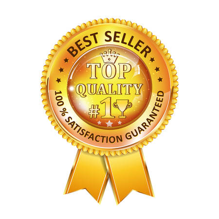 satisfaction guaranteed: Best Seller. 100 % Satisfaction Guaranteed. Top Quality - golden ribbon. Award for excellence.