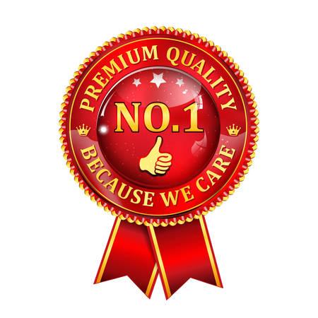 no 1: Premium Quality, because we care. No 1 thumbs up- shiny red award ribbon.