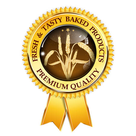baked: Fresh and tasty baked products. Premium Quality golden brown award ribbon with realistic wheat. Illustration