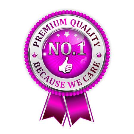 no 1: Premium Quality, because we care. No 1 thumbs up - shiny purple award ribbon.