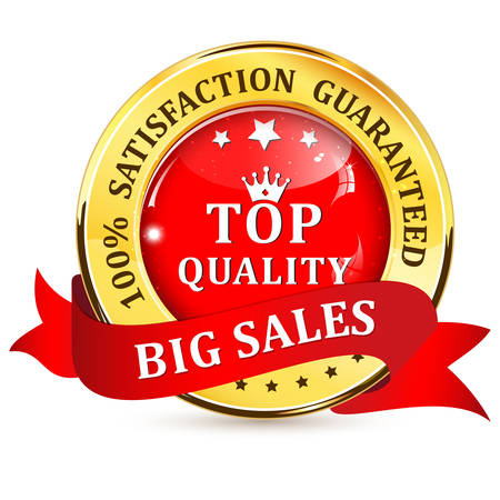 big top: Big Sales. Satisfaction guaranteed. Top Quality shiny icon  button with ribbon.