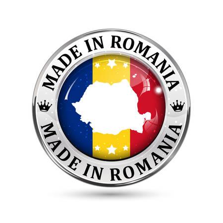 Made in Roemenië - pictogram, knop, label en teken met de vlag Roemeense 's op de achtergrond