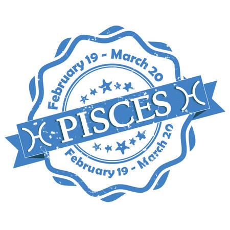 forecasting: Pisces zodiac sign grunge blue ribbon, also for print. Contains also the Dates of Birth.