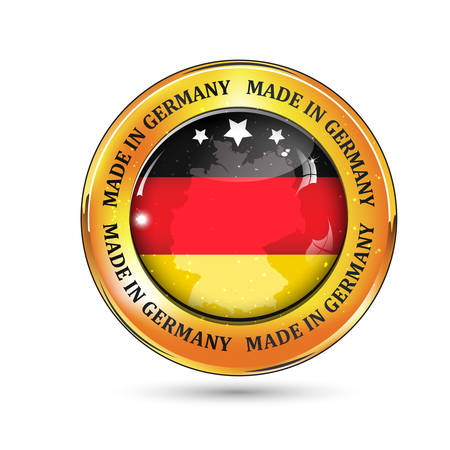 made in germany: Made in Germany - icon with Germanys flag on the background Illustration