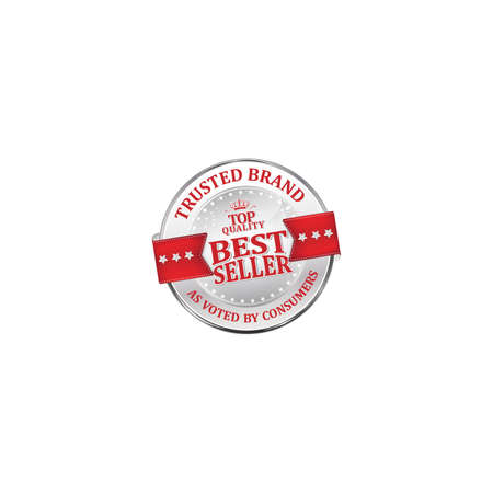 voted: Trusted brand, as voted by consumers, best seller, top quality - shiny luxurious metallic red icon  ribbon for retailers Stock Photo