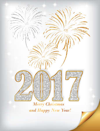 Happy New Year 2017 - golden white elegant greeting card, also for print. Gold Glitter Texture, Sequins Pattern. Lights and Sparkles.