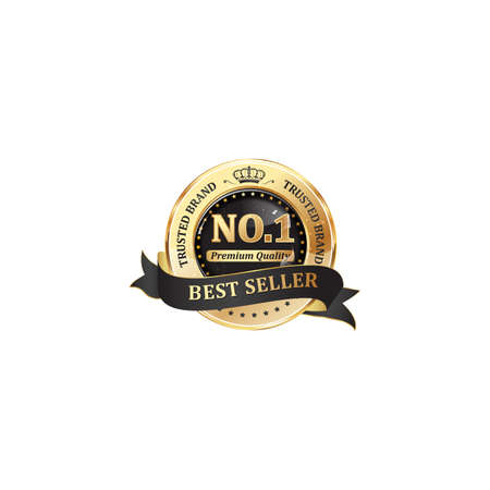 Trusted brand, best seller, premium quality - shiny golden black icon  ribbon for retail companies