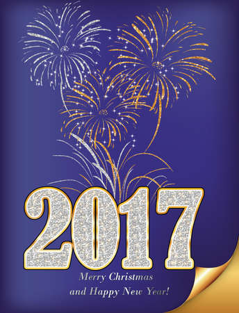 purple happy new year 2017 image also for print gold glitter texture sequins