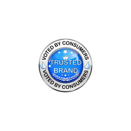 voted: Trusted Brand. Voted by consumers - shiny blue icon.
