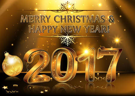 Happy New Year 2017- vector Background. Elegant black vector background illustration with glowing, sparkling stars and Christmas Balls, for the Year 2017. Contains transparency.