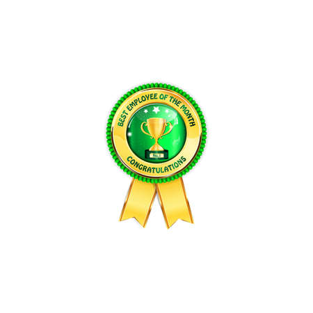 green ribbon: Best employee of the month. Congratulations - golden green award ribbon with golden cup. Stock Photo