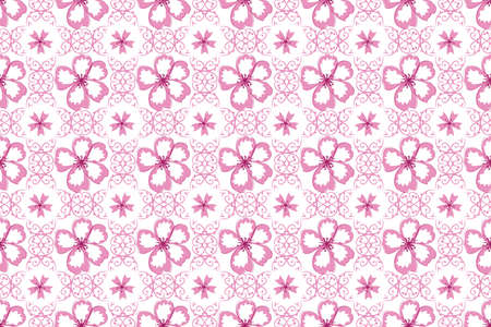 for print: Pink Cherry Flowers blossoms pattern for print.